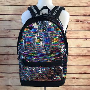 🆕 VS PINK Rainbow Sequin Campus Backpack